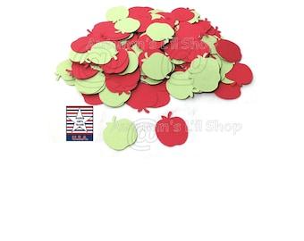 Apple Confetti, Red Apple Die Cut, Green Apple, Paper Apple Die Cut, Back to School, Apple Cutout, Cupcake Topper, Teacher Supplies, 100