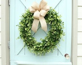 Boxwood Wreath ~ Burlap Bow Wreath ~ Spring Wreath ~ Year Round Wreath ~  Door Wreath ~ Wedding Decor ~ Gift for Her ~ Housewarming Gift
