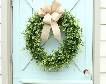 Boxwood Wreath ~ Burlap Bow Wreath ~ Summer Wreath ~ Year Round Wreath ~  Door Wreath ~ Wedding Decor ~ Gift for Her ~ Housewarming Gift