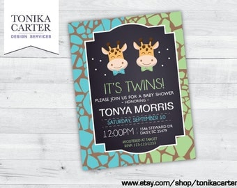 Giraffe Baby Shower Invitation (boy twins)
