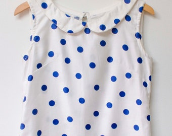 Handmade Polka Dot Top with Peter Pan Collar - Size S