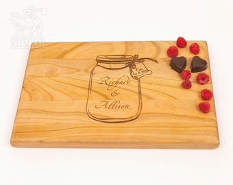 Personalized Cutting Board, Mason Jar, Custom Wedding Gift Cutting Board, Gift For Couple, Bridal Shower Gift, Just Married Gift
