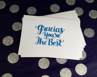 Thank You/Gracias/You're the Best Folded Note Cards and Envelopes - Blue and White - Set of 8