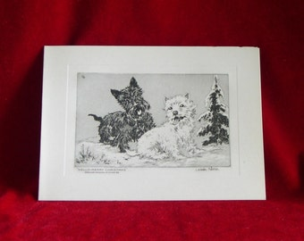 1930's Scottish Terrier Dog & Westie Etching Christmas Card by C. Winston Haberer Unused!