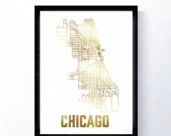 Chicago, Illinois - Gold Foil Map