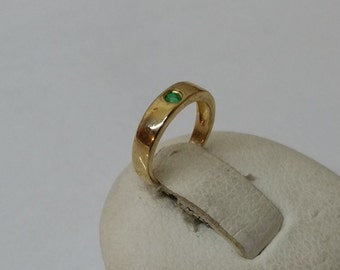 Christening ring 585er gold ring with Emerald 9 mm GR132
