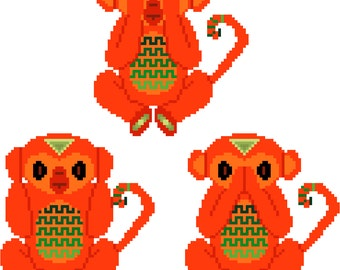 See no evil, hear no evil, speak no evil. Fun modern cross stitch pattern of tribal monkeys. Contemporary design.