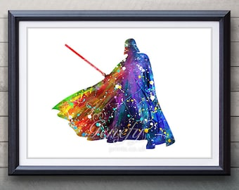 Star Wars Darth Vader Watercolor Art Silhouette Poster Print - Wall Decor -  Watercolor Painting - Home Decor - Kids Decor - Nursery Decor