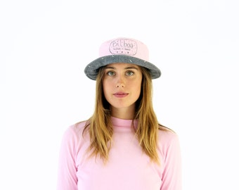 Reversible Bucket Hat. Pink & Grey Wool Embroidered Winter Hat.