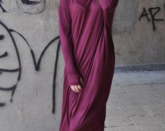 Maxi Dress, Burgundy Dress, Casual Summer Long Marsala Dress, Cotton Abaya Maxi Dress, Dark Red Plus Size Dress, Women Long Dress - DR0084TR