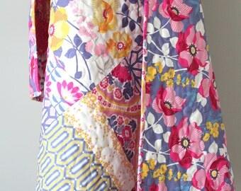 Baby Girl Quilt- Modern Baby Quilt- Patchwork Blanket- Joel Dewberry Atrium- Purple, Pink, Yellow- Girl Crib Quilt- Modern Floral Bedding