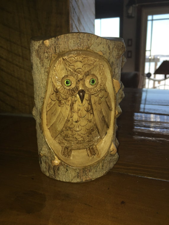 Hand made owl relief carving