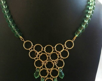 Green glass, crystal & chainmaille statement necklace