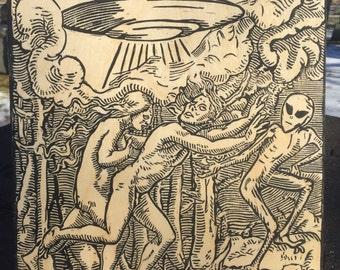 Entfuhrentanz, Die Flucht - Medieval UFO Alien Print on Wood