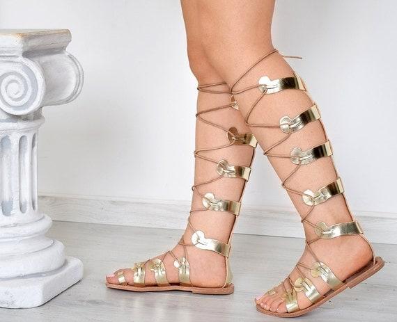 Ancient Greek Women Sandals Gladiator Stylish Gold Handmade