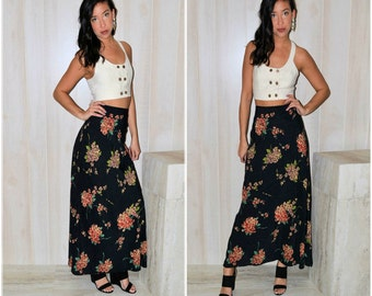 90s long floral skirt button up skirt brown maxi skirt 90s
