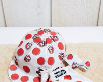 1980s Giordana White and Red Polkadot Disney Cycling Set • RARE