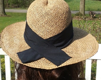 Vintage Straw Hat with Black Band Wide Brimmed Derby Down Hat Summer Hat Natural Tan with Black Band