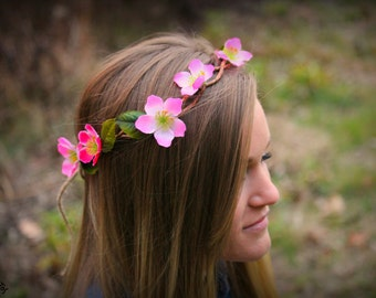Pink flower/floral headband/crown with green leaves and brown vine adjustable one size fits all