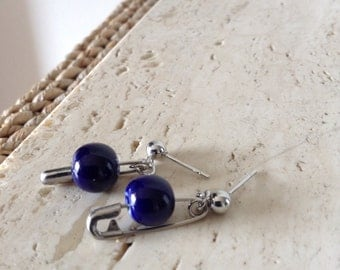 Mini safety pin dangle stud earrings with Navy Blue glass beads.