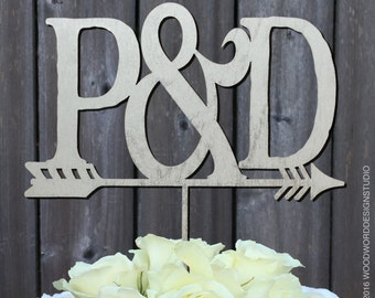 """Personalized Cake Topper, Arrow Cake Topper, Initials with """"&"""" Arrow cake topper"""