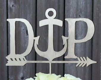 Wedding Cake Topper, Personalized Cake Topper, Arrow Cake Topper, Initials with Anchor and Arrow cake topper