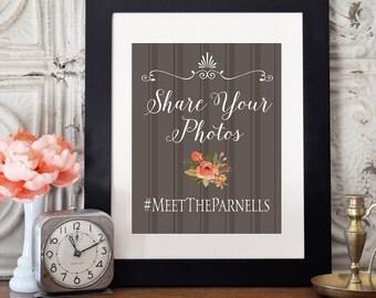 Social Media Wedding Sign, Custom Instagram Sign Wedding, Hashtag Digital Sign