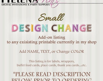 ADD ON, Add Name Age or change the Color, Invitations, Toppers, Favor Tags,  Water Bottle Labels, Bag Toppers