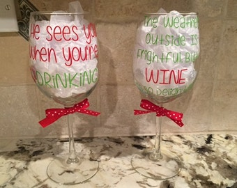 Christmas Wine Glasses: Set of 2