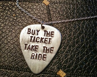 Buy the ticket, take the ride HST guitar pick necklace