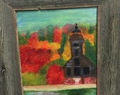 Abandoned Lighthouse in the Fall.  Original acrylic painting on canvas in the folk art style 8x10 Framed