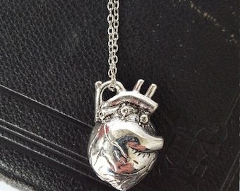 3D anatomical love heart necklace