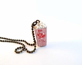 Polymer Clay Miniature Food Jewelry - Popcorn Necklace