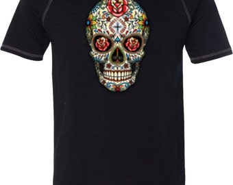 Men's Skull Shirt Sugar Skull with Roses Tri Blend Tee T-Shirt WS-16553-M1101