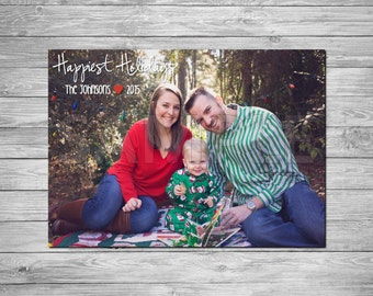 Holiday Photo Card, Christmas Photo Card, Printable Holiday Photo Card, Printable Christmas Photo Card, Happiest Holidays Card