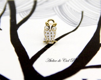Owl Charm, Tiny Owl Charm, Tiny Gold Owl Charm, Mini Gold Owl Pendant, Japanese Charm Supplies, Bird Charm, Bird Pendant