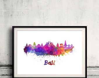 Bali skyline in watercolor over white background with name of city - Poster Wall art Illustration Print - SKU 2066