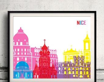 Nice pop art skyline 8x10 in. to 12x16 in. Fine Art Print Glicee Poster Gift Illustration Pop Art Colorful Landmarks - SKU 1034