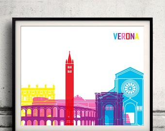 Verona pop art skyline 8x10 in. to 12x16 in. Fine Art Print Glicee Poster Gift Illustration Pop Art Colorful Landmarks - SKU 1093