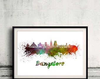 Bangalore skyline in watercolor over white background with name of city 8x10 in. to 12x16 in. Poster art Illustration Print  - SKU 1122
