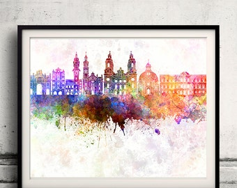Innsbruck skyline in watercolor background - Poster Digital Wall art Illustration Print Art Decorative - SKU 1409