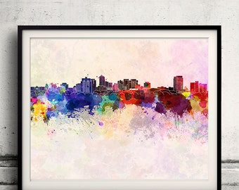London ON skyline in watercolor background - Poster Digital Wall art Illustration Print Art Decorative - SKU 1411