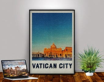 Vatican Art, Vatican, Vatican Poster, Vatican Print, Rome, Italy, Travel Poster, Retro Print, Travel Art, Wall Decor, Wall Art, City Print