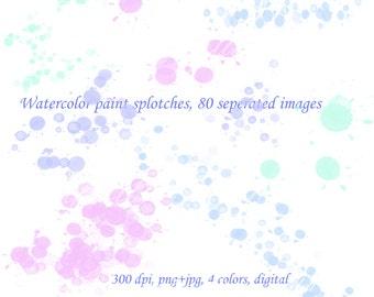 Watercolor clipart splashes, paint splatters clip art, watercolour bubbles, scrapbooking clipart, photography overlays, blog background