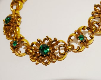 Vintage CORO Signed Gold tone with green 7.5 Bracelet.