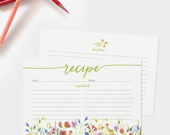 Recipe Cards Set of 15, 30 or 50 - Wildflower Floral Border Design - 4x6 Recipe Cards - Bridal Shower - High Quality Linen Cardstock
