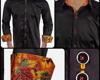 Designer Fall Dress Shirt - Black with Metallic Orange and Red Leaves