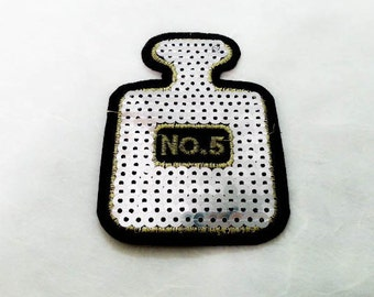 Perfume bottle Sequin Iron on Patch (M) - Sequin No. 5 Perfume bottle,Glitter Applique Iron on Patch - Size 6.2x8.5 cm