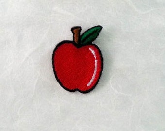 Apple Iron on Patch(S1) - Apple Applique Embroidered Iron on Patch- Size 2.5x3.4 cm