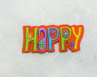 Happy Text Iron on  Patch - Text - Words - Message Iron On Patch Embroidered Applique Size 5.4x 2.5 cm